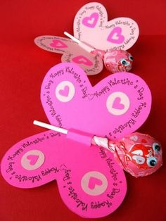 Lollipop Butterfly Valentine Day Card, http://hative.com/creative-valentine-cards-for-kids/