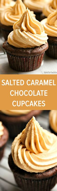 Salted caramel chocolate cupcakes-your favorite coffeehouse drink in cupcake form! Salted caramel chocolate cupcakes-your favorite coffeehouse drink in cupcake form! Cupcake Recipes, Baking Recipes, Dessert Recipes, Just Desserts, Delicious Desserts, Yummy Food, French Desserts, Chocolate Caramels, Salted Caramels