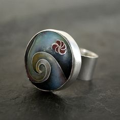 With the Tides Cloisonne Enamel Ring in Sterling Silver by anatomi