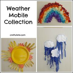 will love making these weather mobiles! This weather mobile collection includes a rainbow, sun and cloud mobile! Fun crafts for kids!This weather mobile collection includes a rainbow, sun and cloud mobile! Fun crafts for kids! Preschool Weather, Weather Activities, Spring Activities, Preschool Art, Weather Art, Weather Crafts, Toddler Valentine Crafts, Toddler Crafts, Fun Crafts For Kids