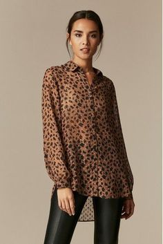 Buy Wallis Brown Smudge Spot Animal Shirt from the Next UK online shop Spotted Animals, Animal Print Shirts, Black Strappy Heels, Shirt Price, Smudging, Printed Shirts, Wallis, Uk Online, Brown