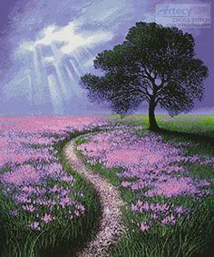Pathway to the Oak - cross stitch pattern designed by Tereena Clarke Category: Trees Easy Landscape Paintings, Fantasy Paintings, Watercolor Landscape, Beautiful Paintings, Beautiful Landscapes, Guache, Colorful Trees, Beginner Painting, Mountain Landscape
