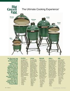 #Big Green Egg: This is a great tool for your outdoor kitchen!!!!!!!!Eggheads, devotees are sold on manufacturers' claims that the grills light faster than other grills, require less charcoal and hold and distribute heat more evenly, and that meats cooked on them are more moist and succulent.