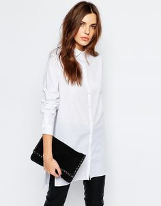 Shop Vila Longline Boyfriend Shirt at ASOS.