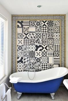 Love this cobalt clawfoot tub makeover and tile focal wall! Bathroom inspiration how to fake a well-traveled home. Black And White Tiles, Interior, Tiles, Cement Tile, Clawfoot Tub, Bathrooms Remodel, Bathroom Decor, Bathroom Inspiration, Tile Bathroom