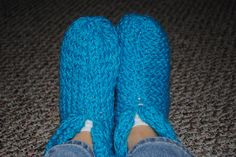 knitted slippers on a knitting loom