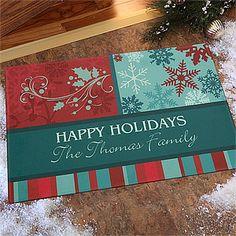 Happy Holidays Personalized Doormat