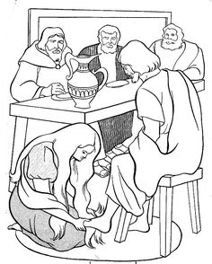 Then Mary took about a pint of pure nard, an expensive perfume; she poured it on Jesus' feet and wiped his feet with her hair. And the house was filled with the fragrance of the perfume. Jesus Crafts, Bible Story Crafts, Bible School Crafts, Bible Crafts For Kids, Preschool Bible, Bible Activities, Jesus Coloring Pages, Colouring Pages, Coloring Sheets