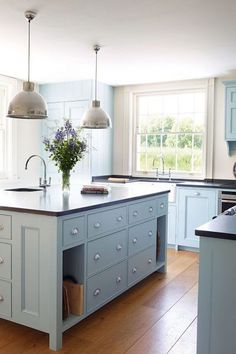 "House and Garden UK As we continue the ""best of the best"" kitchen series, I thought it would be fun to do a round up of some lovely ideas for colored kitchen cabinets. I adore white kitchen cabinets,"