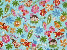 CA5913- 100% Cotton Fabric: All-Over Hawaiian Print Fabric