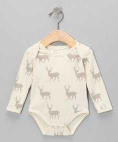 Take a look at this Neutral White Deer Organic Bodysuit - Infant by SoftBaby on #zulily today!