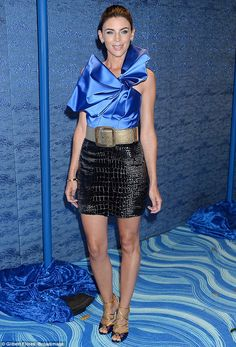 All eyes on her: Liberty Ross, 37, put on a leggy display in a thigh-skimming…
