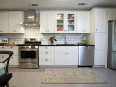 love white subway tiles with gray grout, love the metal bread box