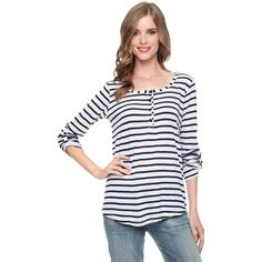Splendid Venice Stripe Henley Tee ($78) ❤ liked on Polyvore featuring tops, t-shirts, white, white long sleeve t shirt, long sleeve cotton tees, white cotton t shirts, cotton t shirt and long sleeve cotton t shirts