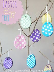 Adventures of a DIY Mom - Salt Dough Easter Egg Tree made using painted salt dough Easter eggs and a branch from the back yard. Easter Crafts For Adults, Easter Crafts For Kids, Easter Ideas, Kids Diy, Easter Gift Bags, Easter Tree Decorations, Egg Tree, Salt Dough, Spring Crafts
