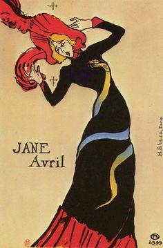 """""""잔 아브릴"""" (1899)     로트렉은 물랑루즈를 홍보하는 포스터를 수도 없이 많이 그렸다. 당시 그의 포스터들은 상업적이면서도 예술적인 의미를 지니고 있다고 하여 큰 인기를 끌었다. 이 포스터 속 잔 아브릴은 당시 물랑루즈의 유명인사였다."""