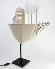 Floating island with house and trees cardboard by LifeInCardboard $375.00