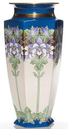 Limoges Porcelain; B & Co, Bernardaud, Vase, Stalks of Columbines, Gold Band, 15 inch. Circa 1875-05 | JV