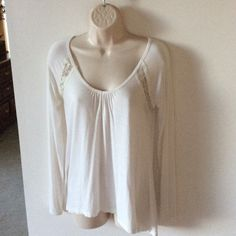 """Soft white cotton asymmetrical  tunic Very soft white cotton with lace accents in front and back.   Measurement in front - from V to hem is 16"""", in back from shoulder to hem is 28"""" Tops Tunics"""