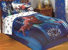 Spiderman Blue 5pc Full Comforter Sheets Bedding Set From Marvel