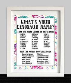 Girl Dinosaur Birthday Party Game // Girl Dinosaur Name