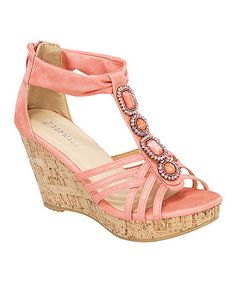 Love this Coral T-Strap Embellished Wedge Sandal by TOP MODA on #zulily! #zulilyfinds