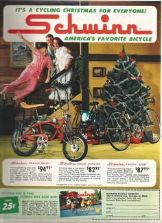 Vintage Print Sales Ad Schwinn Bikes Bicycles Orange Krate for Christmas 9 x 12 | eBay