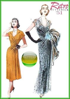 Butterick 6927 Retro Elegance 1951 Gown/Dress Patterns