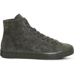ADIDAS Court Vantage high-top suede trainers ($79) ❤ liked on Polyvore featuring shoes, sneakers, suede lace up shoes, laced shoes, adidas trainers, adidas high tops and suede high tops