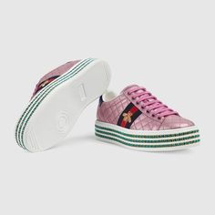 d69424a2dba Ace sneaker with crystals in Pink quilted metallic leather