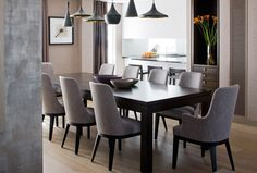 Contemporary and chic.  Love the cool gray color scheme.