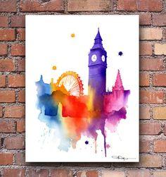 London Skyline - Big Ben Watercolor Art Print - Wall Decor