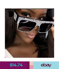 c1aa4e1b14fd Oversized Square Frame Metal Rhinestone Sunglasses Women Fashion Shades  2018  ebay  Fashion Fashion Sandals
