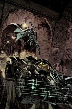 black-box-comics:  Batman: Arkham Knight Batmobile Cover by Dan Panosian More comic art at Black Box