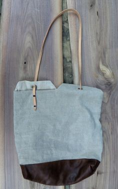 Leather and linen tote bag #2 by Livius