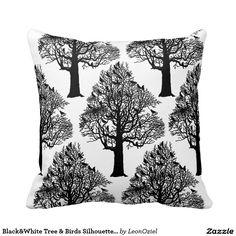 Decor Pillows, Decorative Pillows, Throw Pillows, Black And White Tree, Bird Silhouette, Bird Tree, Repeating Patterns, Birds, Modern