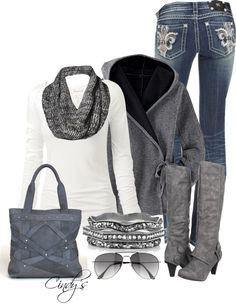 """""""Gray and White"""" by cindycook10 on Polyvore"""