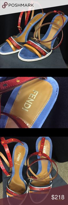 Fendi Red/Blue Leather Strappy Open Toe High Heels Excellent Condition!  Comes with original box, extra taps, and dust cover.  Beautiful shoes. Fendi Shoes Heels