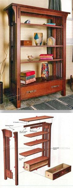 Arts and Crafts Bookcase Plans - Furniture Plans and Projects - Woodwork, Woodworking, Woodworking Plans, Woodworking Projects Diy Projects Arts And Crafts, Arts And Crafts Furniture, Easy Wood Projects, Furniture Projects, Wood Crafts, Diy Furniture, Project Ideas, Woodworking Furniture Plans, Woodworking Projects Plans