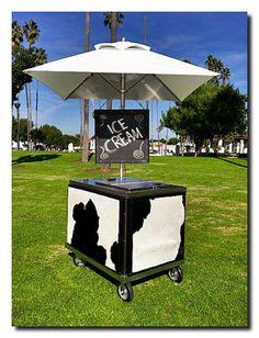 cow hide ice cream cart