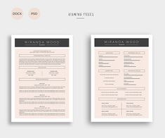 2 Page Resume & Cover Letter by Glowing Pieces on @creativemarket