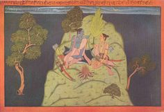 As though with golden whips the flashes of lightning are whipping the sky... and the sky is letting out its inward rumbles as thunders, in all its throes... That lightning relying upon that blue cloud is squirmy in its movements... like the squirming of penitent Vaidehi in the grasp of Ravana...