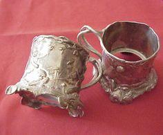 beautiful details...; 1800's Silver 2 Iced Tea Glass Holders Motif Neptune Cherub Mermaid