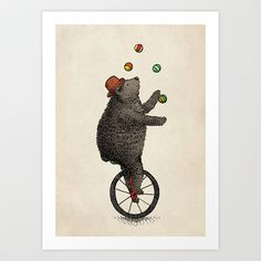 Art of bear on unicycle juggling.  The Juggler (color option) by Eric Fan.  $18.00