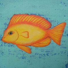 Primitive Funky Folk Art Yellow Fish Original by ArtfulHorizon