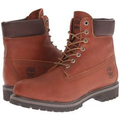 Timberland Heritage 6 Premium Boot (Sundance Forty Leather) Men's... ($130) ❤ liked on Polyvore featuring men's fashion, men's shoes, men's boots, brown, mens leather boots, mens water proof boots, mens waterproof leather boots, mens waterproof boots and mens brown leather lace up boots