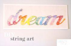 37 Insanely Cute Teen Bedroom Ideas for DIY Decor | DIY String Art Crafts - Dream