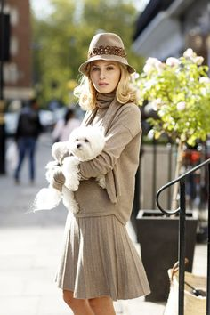 100% top quality taupe EMMAJANE KNIGHT cashmere sweatshirt, fluted skirt, scarf and gloves set with the Maltese, Douji, outside #gracebelgavia London