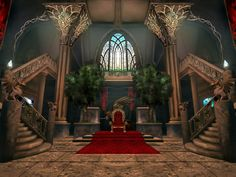 I am amazed and flabbergasted in a good way. Besides a tiny bit of photomanipulation, this was all me. My own, personal throne room in my own castle! I had it perfectly envisioned and it turned. Fantasy City, Fantasy Places, High Fantasy, Fantasy World, Episode Interactive Backgrounds, Episode Backgrounds, Fantasy Art Landscapes, Fantasy Landscape, Anime Places