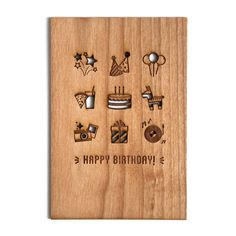 Happy Birthday Icons Wood Birthday Card by Cardtorial on Etsy
